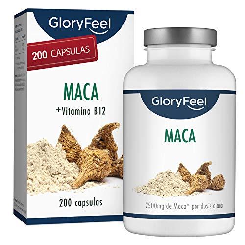 Extracto de Maca Andina - 200 Cápsulas Veganas con la mayor concentración 10:1 - Enriquecido con Vitamina B12 para una mejor absorción