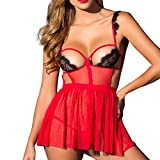 Lingerie for Women Sexy Long Lace Dress Sheer Gown See Through Nightwear, Elegant Pack Cotton Size High Black Thongs Panties Tank Slim Essential Bra Bras Athletic Socks Active (Red XXL)