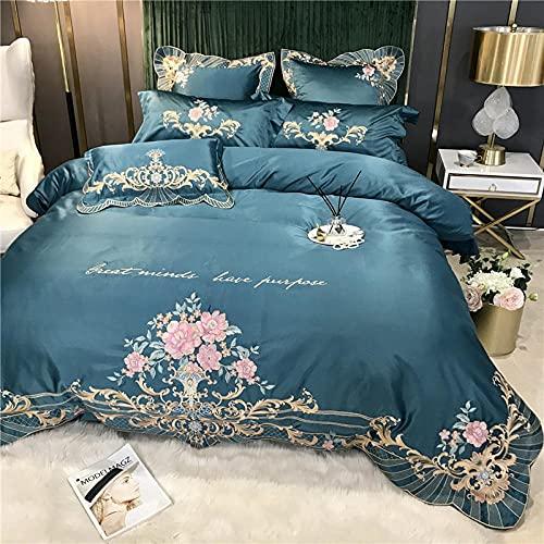 TenChau - Set di tre pezzi in morbido cotone ricamato, in vera seta, traspirante, per letto matrimoniale, 230 cm, 200 cm, federa 48 cm, 74 cm