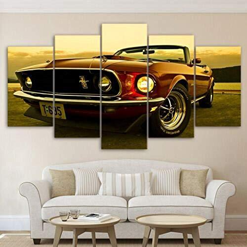 YJXL Pintura de Coches Mustang 1969,Cuadro En Lienzo,Canvas De 5 Pieza,Póster De Arte Moderno Oficina Sala De Estar Dormitorio Decoración del Hogar Arte De Pared 150x80cm(Enmarcado)