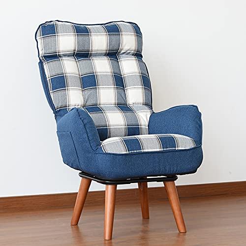 Plegable Silla Perezosa del Sofá Butaca reclinable sillón Relax cómodo y Compacto para salón Respaldo de Ajuste de 3 velocidades,Blue Grid