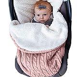 Newborn Baby Swaddle Blanket, Soft Thick Baby Kids Toddler Knit Warm Fleece Blanket Swaddle Sleeping Wrap Bag Sack Stroller Unisex Baby Sleep Bag for 0-12 Month Baby Boys Girls (Pink)
