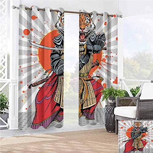 108' W by 108' L(K274cm x G274cm) Anime Wild Ninja Cartoon Japanese Extra Wide Curtains Outdoor Patio Scattering Shading Reflection Masculine Tiger Leopard Samurai Sword Fighter Japan Style Rising