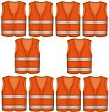 10 Chalecos Reflectantes de Color Naranja - Transpirables - Unisex - Chaleco de Alta Visibilidad para Emergencias, Trabajar