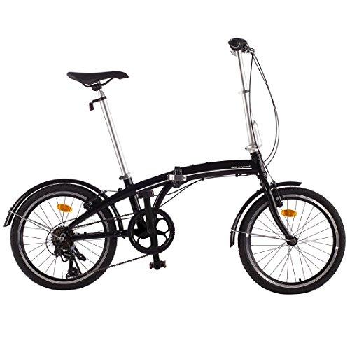 Ultrasport Shimano Revoshift Bicicleta Plegable de Aluminio de 20 Pulgadas, Cambio de 7 Velocidades con Piñón Libre para Exterior, Sin Herramientas, Fácil de Transportar, Unisex Adulto, Negro