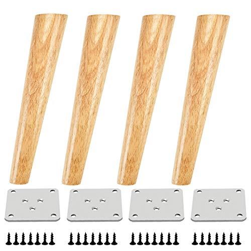 Qrity 4x Patas de Madera para Muebles Sofá Gabinete Oblicuas Cónicas TV de 200 mm de Altura con Alfombrilla Antideslizante, Tornillos y Placa de Montaje