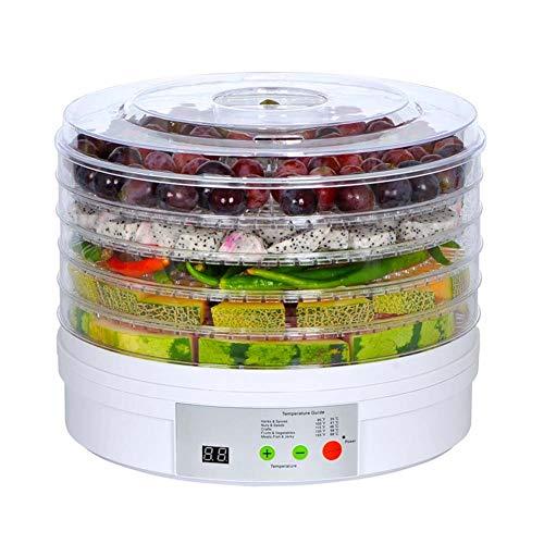 LHZHG Deshidratador de Alimentos,deshidratadora de Frutas y Verduras con 5 Bandejas Ajustables, Temperatura Regulable 35-70 Grados, para Verduras Carne Flores