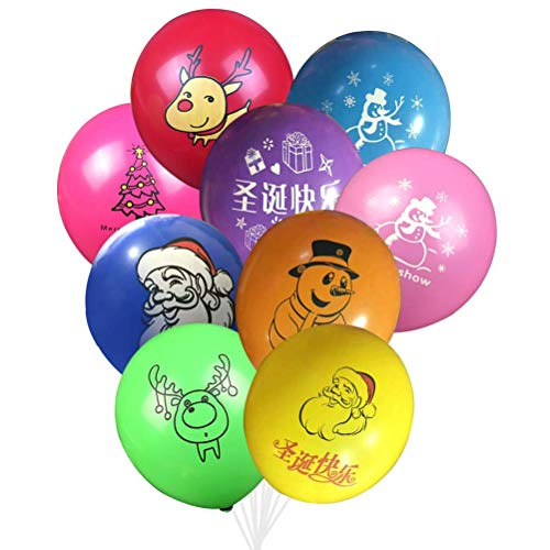 Pretyzoom 100 stücke Weihnachten Niedlichen Cartoon Luftballons Bunte Gedruckt 12 inch Latex Luftballons Party Holiday Home Dekorationen (zufällige Farben und Muster)