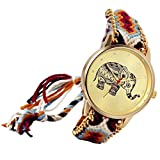 Lancardo Reloj Analógico de Cuarzo Dial Dorado con Elefante Tailandés Marcadores de Puntos Pulsera Electrónica de Moda Correa Trenzada Colorida Ajustable Casual para Mujer Dama (Multicolor)