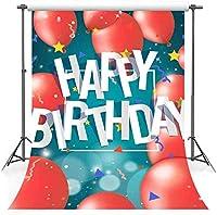 HD5x7ft誕生日コットン背景赤い風船きらめく星シアン-青い写真の背景子供大人の誕生日パーティー写真ビデオスタジオ小道具LHFS123