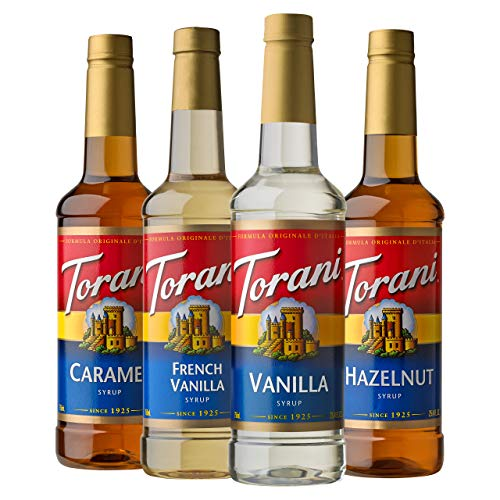 Torani Variety Pack Caramel, French Vanilla, Vanilla & Hazelnut, 25.4 Ounces (Pack of 4)