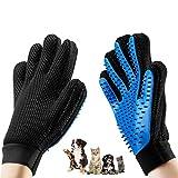 sinzau Tierhaar Handschuh, Massagehandschuhe für Haustiere, 1 Paar, Zur Pflege der Haare von Katzen und Hunden, Blau Schwarz