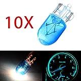 cciyu 10 pcs T10 168 194 W5W Blue Halogen Light Bulb Instrument Cluster Gauge Dash Lamp 12V 5W Replacement fit for Shippment Cost
