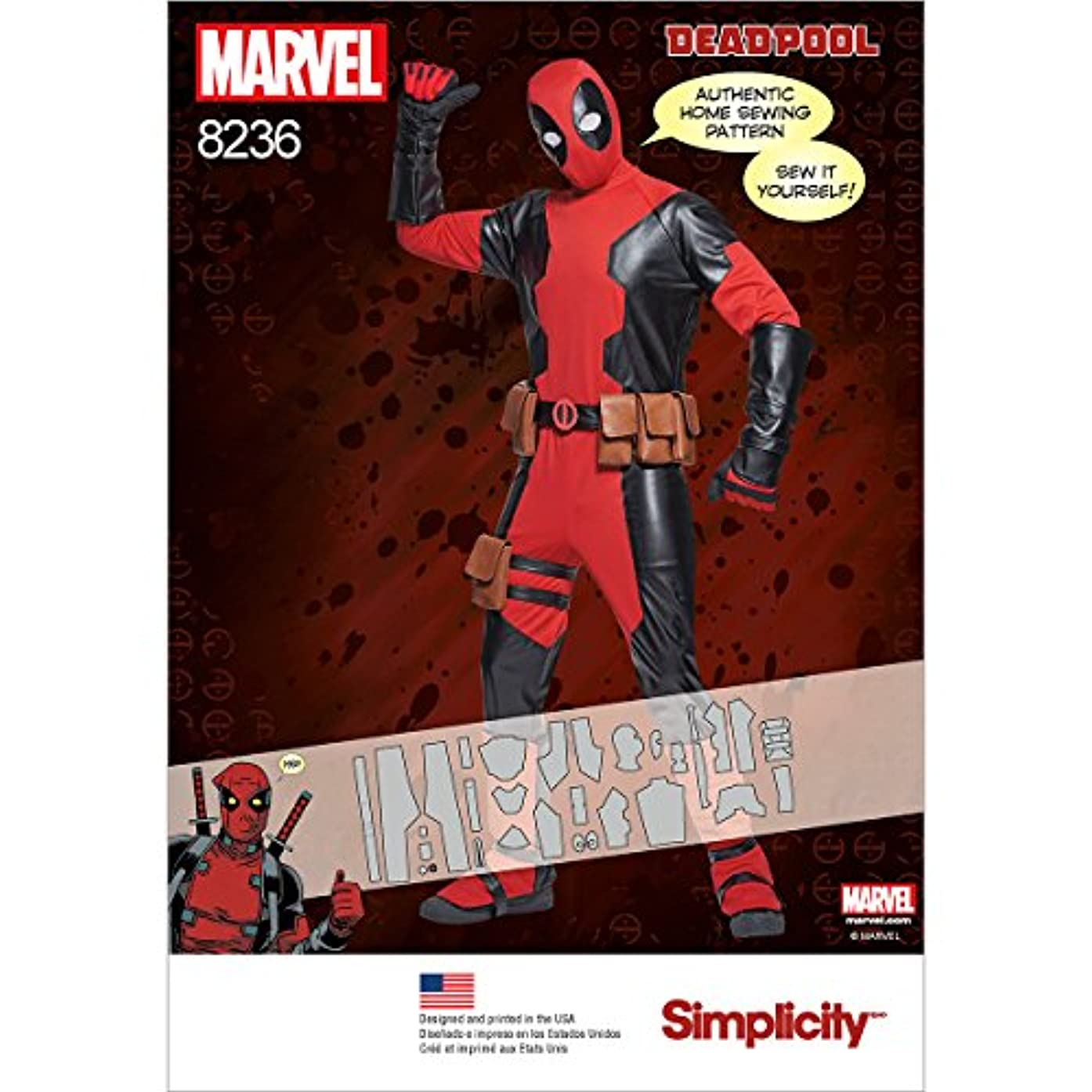 Simplicity Pattern 8236 Men's Deadpool Costumes Size A (XS-S-M-L-XL), A (A (X-Small/Small/Medium/Large/X-Large)
