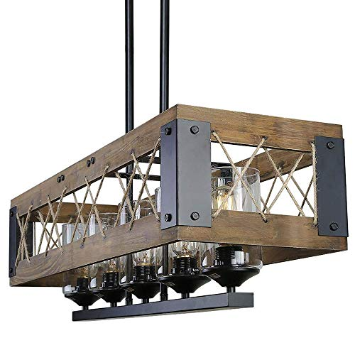 "LEDMO 40"" 5-Light Kitchen Island Lighting, Rustic Island Pendant Chandeliers Light Fixture, Wood E26 60W UL Listed(LED Bulbs Include)"