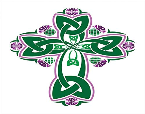 Tcoapy Celtic 5D DIY Diamond Painting Kits Celtic Everlasting Knot Thistle Forrest Green White Pink Full Drill Painting Cross Stitch Craft for Home Wall Decor Adults Kids 12'x16'