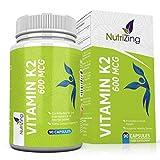 Vitamina K2 MK7 600mcg Alta Resistenza - Certificato Vegan - 100%...