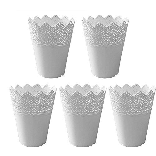 Leisial 5pcs Jarrón de Plástico Macetas para Flores Lace Flor Planta Pot Jardinero Hollow Flor Patrón Oficina Hogar Jardín Balcón Decoración Blanco