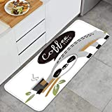 Cocina Antideslizante Alfombras de pie Lindo Vector Oso Perezoso Animal café Decoración de Piso Confortables para el hogar, Fregadero, lavandería-120cm x 45cm