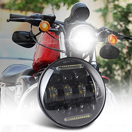 DOT Approved 5 3/4 5.75 Inch LED Headlight 5-3/4 Motorcycle Round Headlamp White DRL with Housing Bucket Mounting Bracket for Harley Davidson Projector Driving Lights Sammanlight