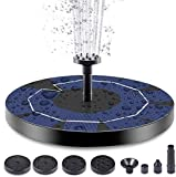 OneV FT Solar Powered Fountain Pump for Bird Bath, 3.5W Circle Solar Water Pump Built-in 1200mAh Battery, Solar Fountain Pump with 6 Nozzles for Fish Tank, Pond or Garden Decoration¡ (D)