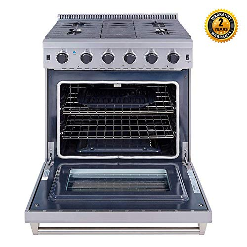 Thor Kitchen 30 inch Freestanding Pro-Style Professional Gas Range with 4.55 cu.ft. Oven, 5 Burners, in Stainless Steel - LRG3001U