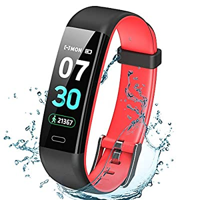 K-berho Fitness Tracker Activity Tracker with Heart Rate Monitor?Step Counter Watch, Sleep Monitor Tracker?Pedometer Watch?Calorie Counter Watch Waterproof?Smart Watch for iOS and Android (Black&red)