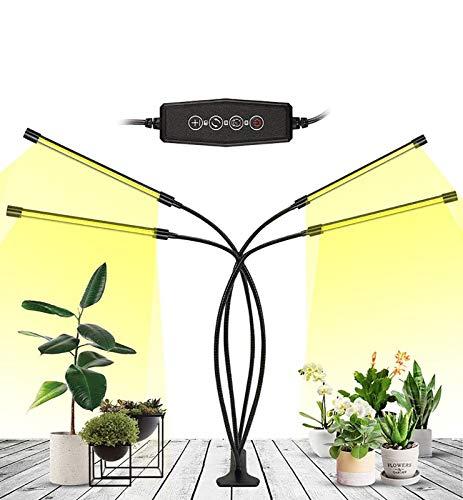 WWLONG Planta 40W LED De Luz De Espectro Completo Sol, 4 Cabezas Lámpara Crecimiento con Encendido/Apagado del Temporizador,360° Ajustable Cuello Cisne,para Plantas Interior Flor Veg