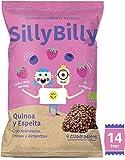 SillyBilly - Barritas BIO - Pack de 14 bolsitas - Quinoa, Espelta, Fresa, Arándanos y Almendras - Cuadritos horneados…