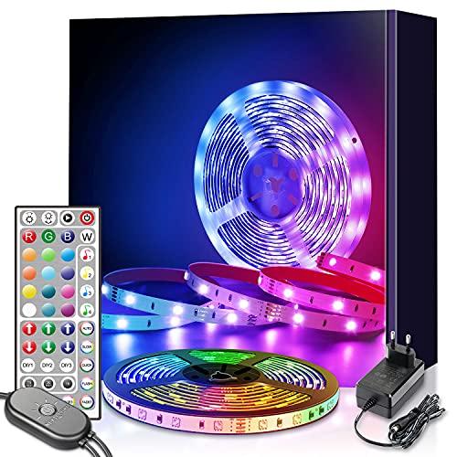 led strip 6m, Mexllex 6m RGB LED Streifen Lichtband mit Fernbedienung, Farbänderung LED Band Lichterkette für Zuhause, Schlafzimmer, TV, Tische, Schrank, Hell 5050 LED Schlauch, 12V Netzteil
