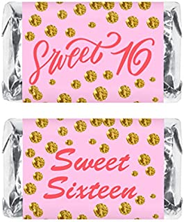 Pink 16th Birthday Miniatures Candy Bar Wrapper (Set of 60), Sweet 16 Mini Candy Bar Stickers, Sweet Sixteen Party Favors. Candy Not Included.