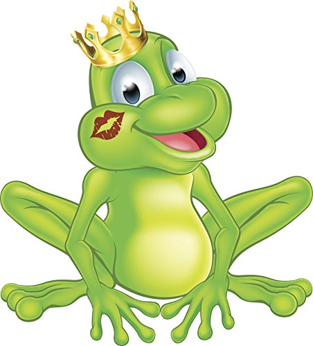 """Happy Classic Prince Frog with Princess Kiss Cartoon Vinyl Decal Sticker (8"""" Tall)"""