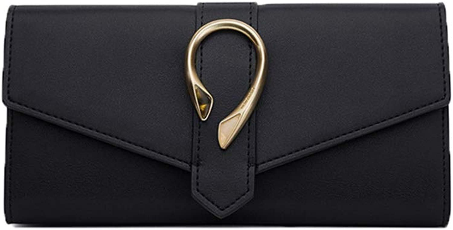 Wallets Wallet wallet female 2018 new multifunction long paragraph female business buckle buckle clutch bag ladies pink leather wallet multicard wallet gift ( color   Black , Size   9.418.93.4cm )