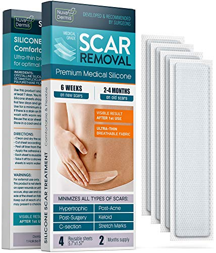 Silicone Scar Removal Sheets - Keloid, C Section, Post Surgery & Acne Scars Treatment - 2 Month Supply - Silicon Soft Long Strips & Sheets 5.7' x 1.57' - Healing Alternative to Gel, Tape, & Cream