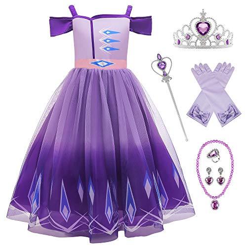 O.AMBW Disfraz de Princesa prpura Vestido Princesas Anna Elsa Rapunzel Sofa Escote de Barco Cosplay Carnaval Disfraz de Halloween con 6 Accesorios para nias