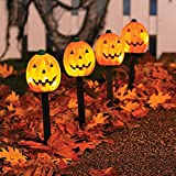 Vanthylit UL Certified 4PK Halloween Pathway Light with 20LT Clear Bulbs Lights Pumpkin Stakes Light for Outdoor Halloween Decorations