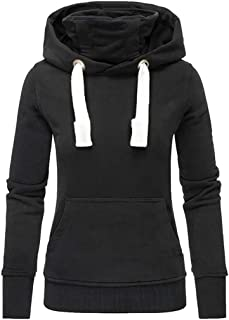 Trolimons Women Solid Hooded Turtleneck Ladies Long Sleeve Sweatshirt Pullover Drawstring Tops Shirt with Pockets