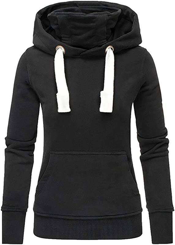 Onegirl Women Ladies Autumn Winter Solid Plus Size Hooded Turtleneck Long Sleeve Sweatshirt Pullover Tops Blouses