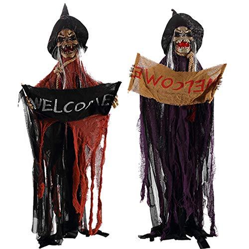 NBCDY 3 stücke Halloween Prop, Horror Elektrische Stimme Hängen Schädel Skeleton Ghost Willkommensschild, für Haunted House Escape, Geschenke, Kostümpartys, Karneval, Weihnachten, Ostern
