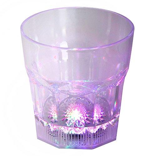LED-Highlights Led Glas Becher Cocktailglas 250 ml Led Farbwechsel bunt mit Batterie wechselbar Bar Kunststoff Trinkglas beleuchtet Cocktail