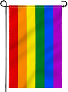 Anley |Double Sided| Premium Garden Flag, Rainbow Gay Pride Decorative Garden Flags - Weather Resistant & Double Stitched - 18 x 12.5 Inch