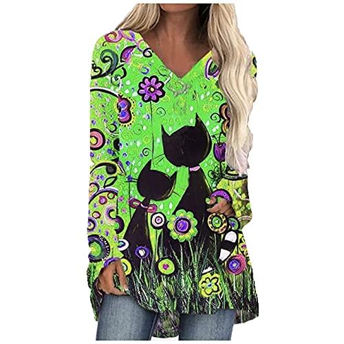 YANFANG Camiseta De Manga Larga con Estampado Gato Digital para Mujer,Blusa Informal Ropa Trabajo, Camisa Elegante Talla Grande Mujer,Verde,XL