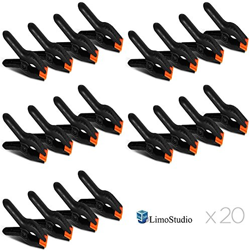 LimoStudio 20 PCS Photography Backdrop Support Spring Clamp for Background Muslin, Canvas, Paper, Chromakey Screen, Heavy Duty Clip, Photo Studio, AGG1424V2