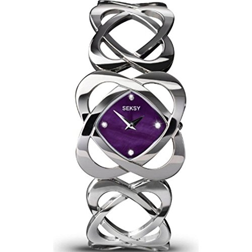 Seksy Women's Quartz Watch with Purple Dial Analogue Display and Silver Stainless Steel Bracelet 4564.73