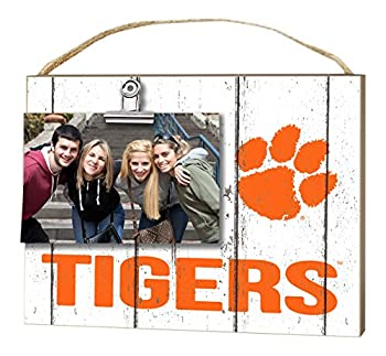 KH Sports Fan 10 x8  Clemson Tigers Clip It Weathered Logo Collage Photo Frame White