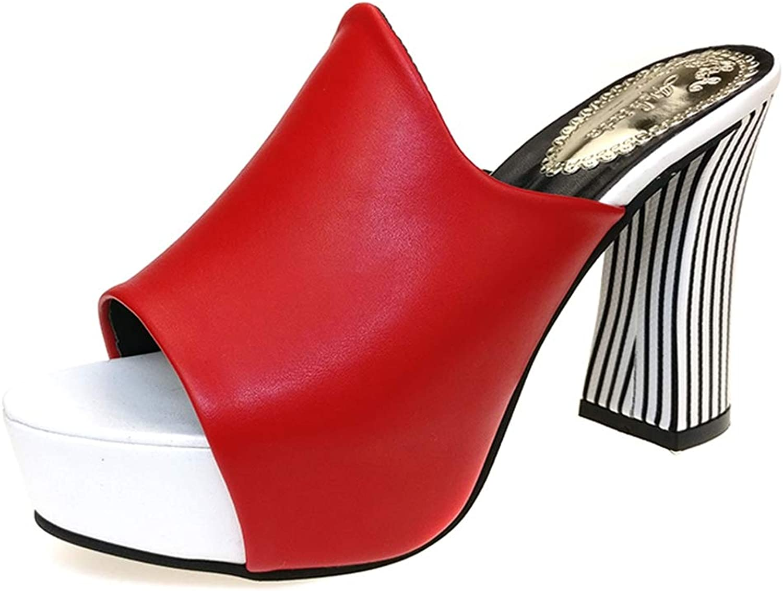 Btrada Women Square Heel Soft Leather Sandals Female Platform Wedges Slippers Summer Pumps Flip Flops