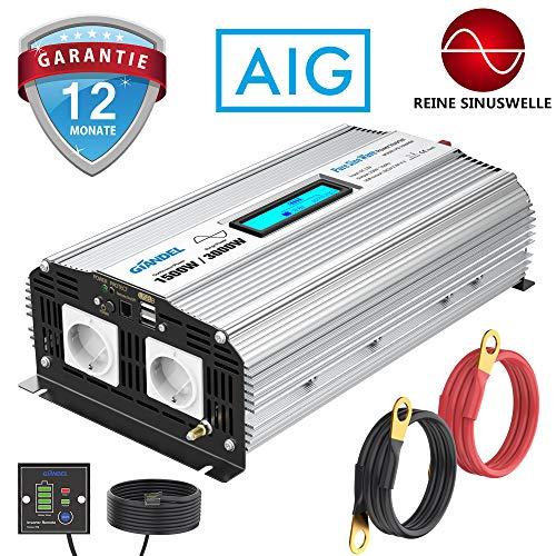 GIANDEL 1500W Reiner Sinus Wechselrichter DC 12V auf AC 230V Spannungswandler mit 2.4A Doppelte USB-Anschlüsse und Fernbedienung und LCD-Anzeige für Wohnmobil-LKW