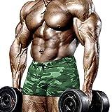 Muscle Alive Hombres Apretado Culturismo Ejercicio 4 Pulgadas Bermudas Aptitud física Gimnasio Ejercicio Ropa de deporteCamuflaje Verde L