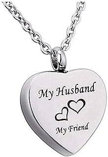 ZJMIYJ Kremeringssmycken, bleknar inte rostfritt stål min man hjärta kremering hänge & amp; halsband håller aska minnessak...