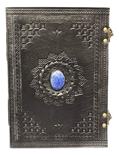 Embossed Blue Stone Handmade Leather Unlined Journal Travel Planner Stone Diary Notebook with Clasp (107 Black)